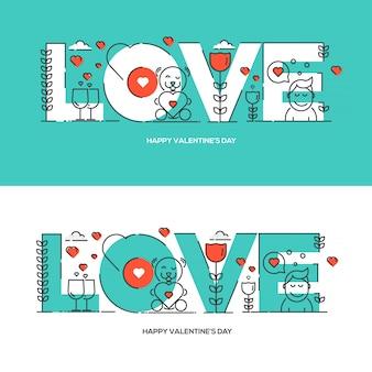 Cartão de dia dos namorados mão desenhada