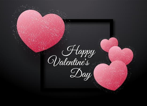 Cartão de dia dos namorados no coração rosa vetor grátis