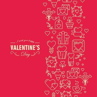 Cartão de dia dos namorados original com corrente composta por muitos elementos e ilustração de texto