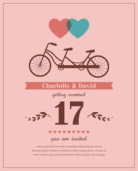 Cartão de dia dos namorados ou casamento de estilo retro com bicicleta tandem