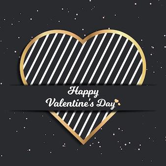 Cartão de dia dos namorados para modelo de férias com ilustração geométrica de corações. padrão de estilo criativo e luxuoso