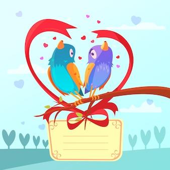 Cartão de dia dos namorados retrô dos desenhos animados com casal de pássaros