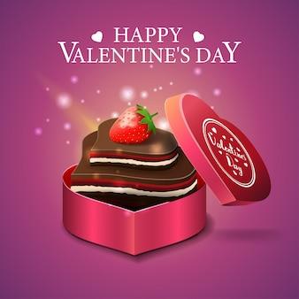 Cartão de dia dos namorados rosa com doces de chocolate