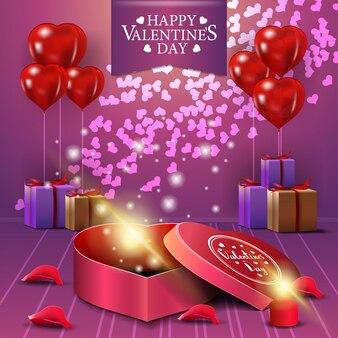 Cartão de dia dos namorados rosa com presentes