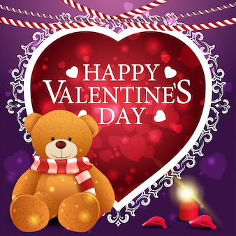 Cartão de dia dos namorados roxo com ursinho de pelúcia