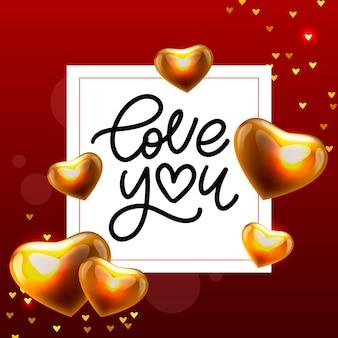 Cartão de dia dos namorados te amo com letras caligráficas