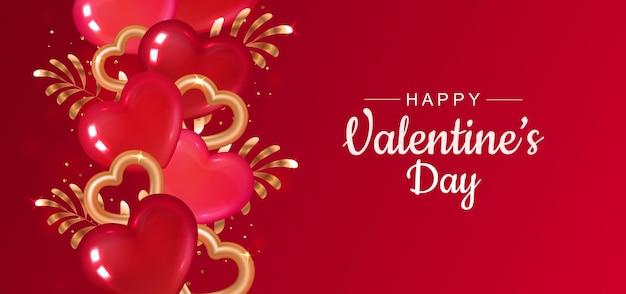 Cartão de dia dos namorados vermelho com borda de coração. corações e ramos de ouro. Vetor Premium