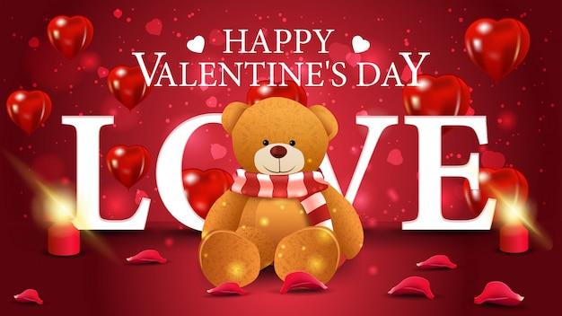 Cartão de dia dos namorados vermelho horizontal com ursinho de pelúcia