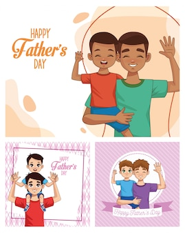 Cartão de dia dos pais com pais carregando personagens de filhos