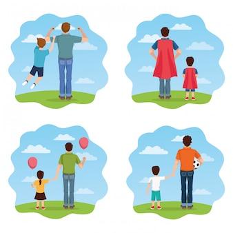 Cartão de dia dos pais com personagens de pais e filhos