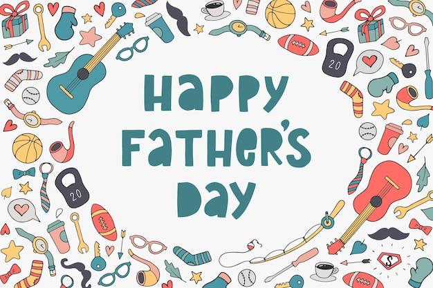 Cartão de dia dos pais decorado com rabiscos
