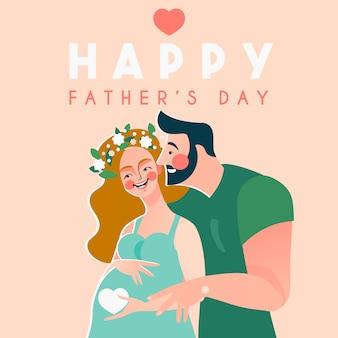 Cartão de dia dos pais feliz com casal grávida esperando bebê Vetor Premium