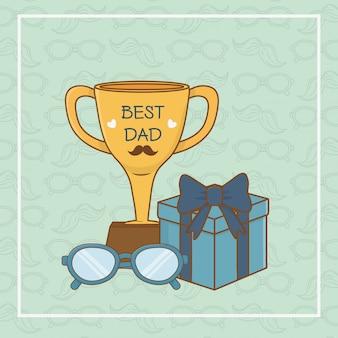 Cartão de dia dos pais feliz com copa do troféu