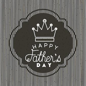 Cartão de dia dos pais feliz com coroa de rei