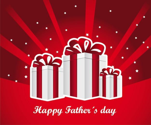 Cartão de dia dos pais feliz com ilustração vetorial de presentes