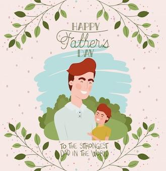 Cartão de dia dos pais feliz com personagens de pai e filho