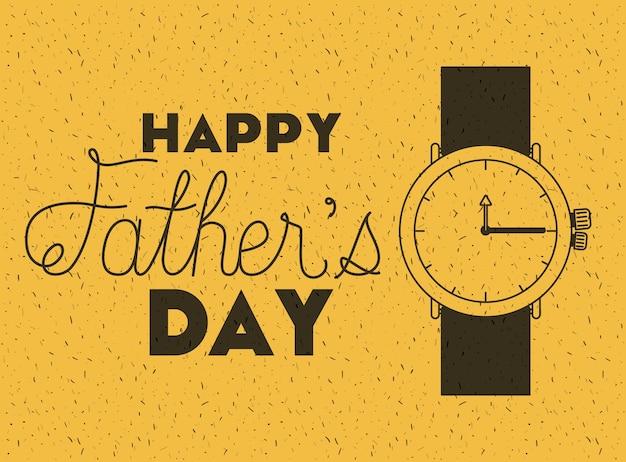 Cartão de dia dos pais feliz com relógio de pulso