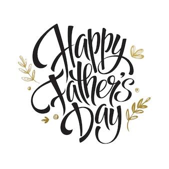 Cartão de dia dos pais letras douradas.