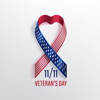 Cartão de dia dos veteranos dos eua com fita
