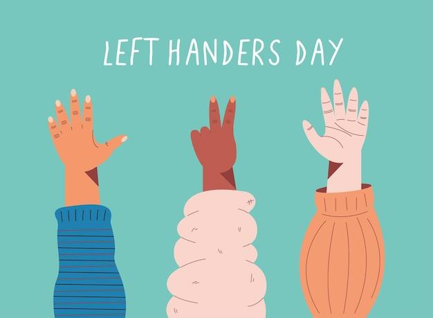Cartão de dia para canhotos com três mãos