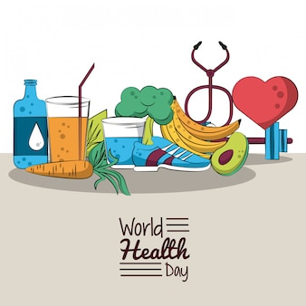 Cartão de dia saudável do mundo