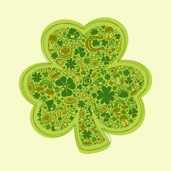 Cartão de dias de st patrick de objetos verdes