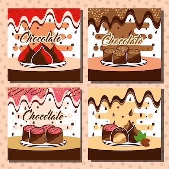 Cartão de doces de chocolate