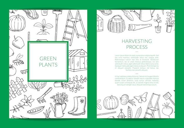 Cartão de doodle de jardinagem de vetor, modelo de panfleto