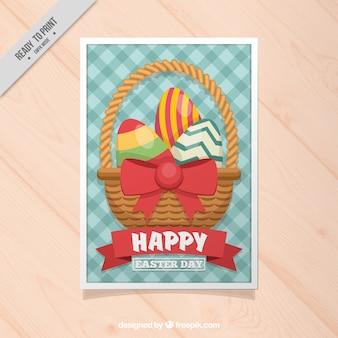 Cartão de easter quadriculada com cesta e ovos