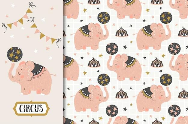 Cartão de elefante bonito dos desenhos animados de circo e conjunto padrão sem emenda. desenhado à mão