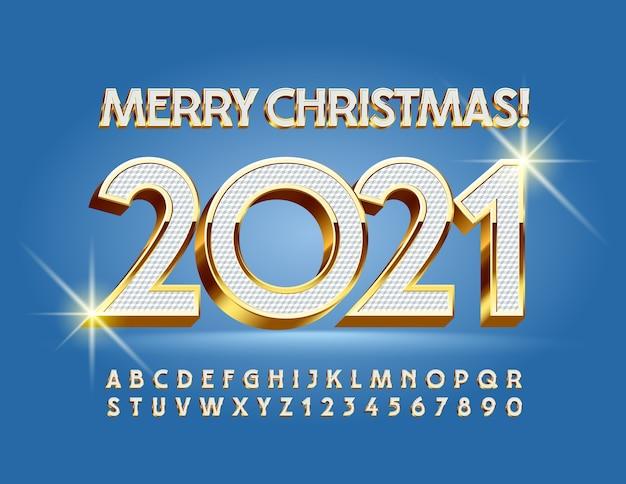 Cartão de elite do vetor feliz natal 2021! fonte maiúscula elegante. letras e números do alfabeto 3d branco e dourado