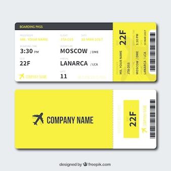 Cartão de embarque amarelo no design plano