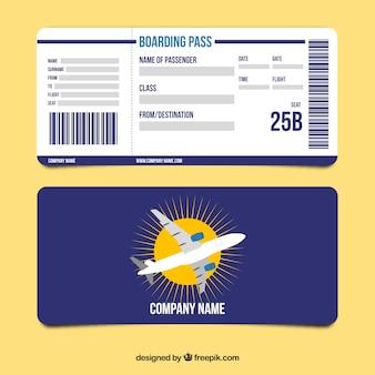 Cartão de embarque azul escuro no design plano