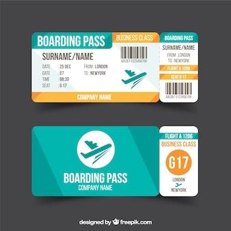 Cartão de embarque plano com detalhes azul e laranja