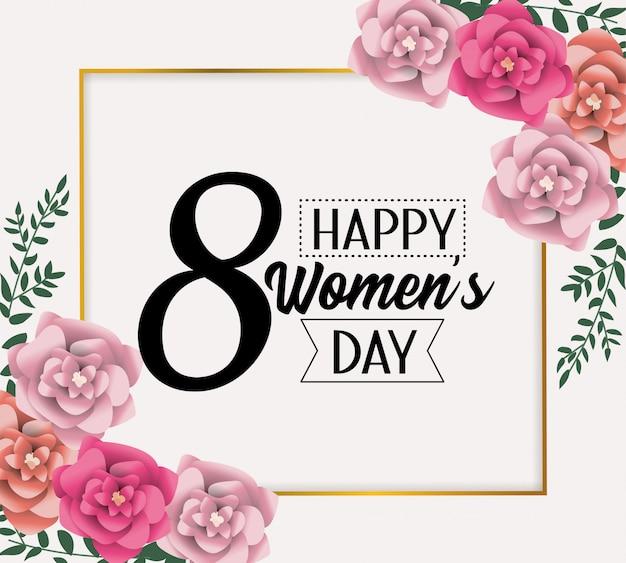 Cartão de emblema com rosas para celebração do dia das mulheres