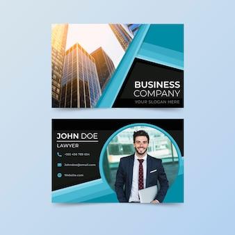 Cartão de empresa com formas e fotos