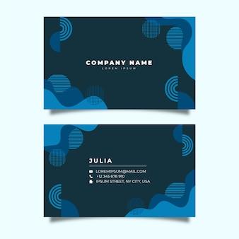 Cartão de empresa com formas geométricas azuis clássicas