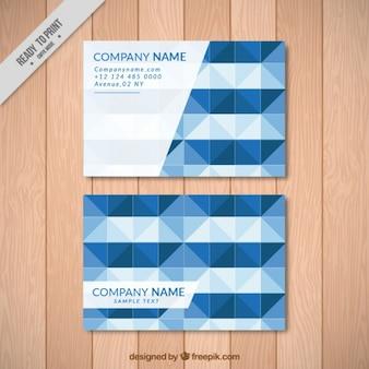 Cartão de empresa com formas geométricas azuis