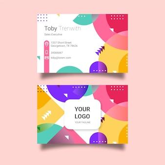 Cartão de empresa de estilo memphis com formas coloridas