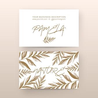 Cartão de empresa floral desenhada mão realista