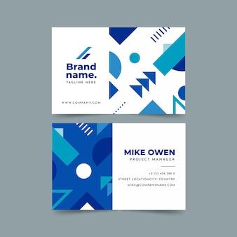 Cartão de empresa minimalista com formas geométricas azuis clássicas