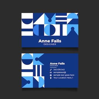 Cartão de empresa moderna com formas geométricas azuis clássicas