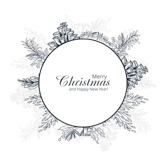 Cartão de enfeite de inverno feliz natal desenhado à mão