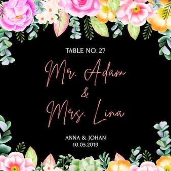 Cartão de escolta de quadro floral de beleza