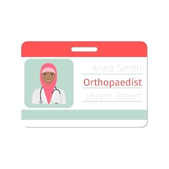 Cartão de especialista médico ortopedista feminino
