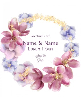 Cartão de espumante grinalda dourada de flores em aquarela