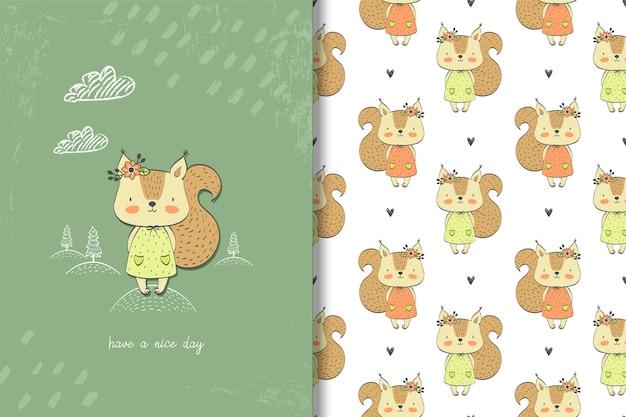 Cartão de esquilo menina e padrão sem emenda