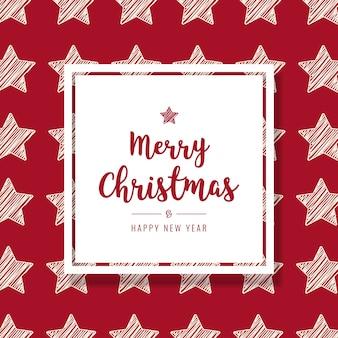 Cartão de estrelas de rabisco de natal saudação fundo de quadro de texto vermelho