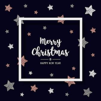 Cartão de estrelas de rabisco de natal saudação texto fundo azul