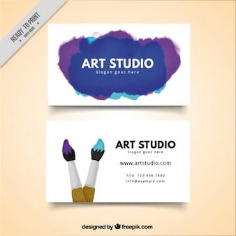 Cartão de estúdio de arte, aguarela